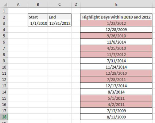 How to Highlight Days between Two Dates in Excel - dummies