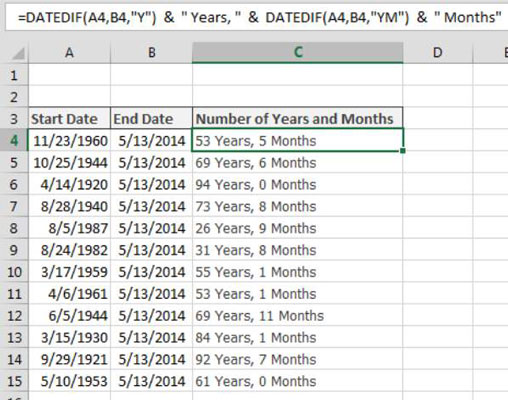 Calculating the Number of Years and Months between Dates in