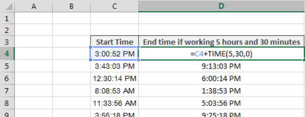 Adding Hours, Minutes, or Seconds to a Time in Excel - dummies