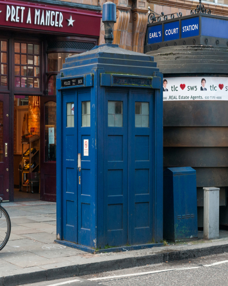 London's last blue police box stands on Earl's Court Road. [Credit: ©iStockphoto.com/Wanlorn 2