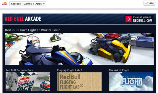 Redbull offers games on its Facebook Page