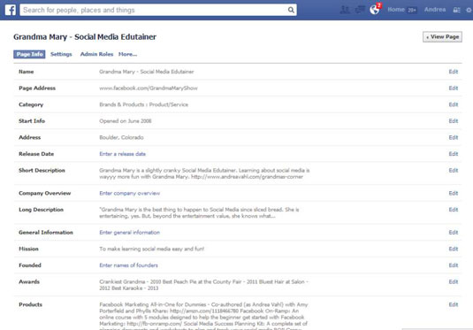 A Facebook business Page's administrative dashboard.