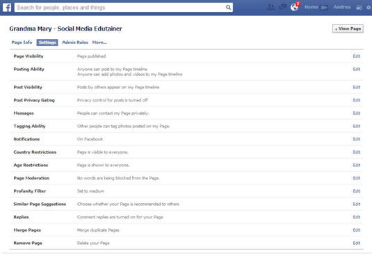 The Facebook Page Settings screen.