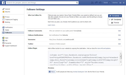 How to Activate the Follow Button on a Facebook Personal Profile - dummies