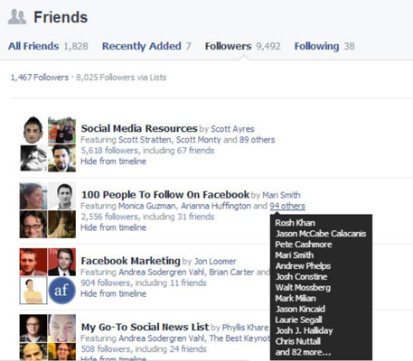 Followers list on Facebook