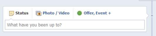 The Status Update box in Facebook.