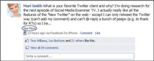 A Facebook user's status update.