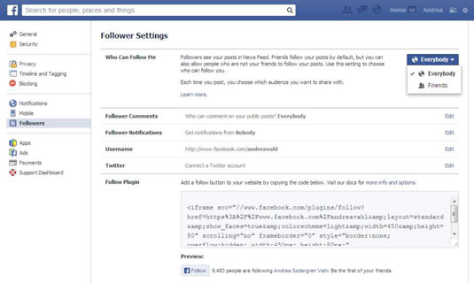 Follower Settings in a Facebook Business page.