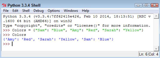 Python Shell Workspace Showing The Entries In A Dictionary List Of People And