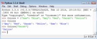 """Python shell shows the color associated with the value """"Sarah""""."""