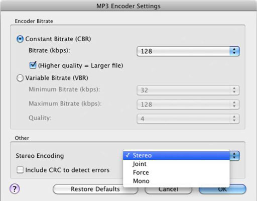 File Modes for Home Recordings - dummies