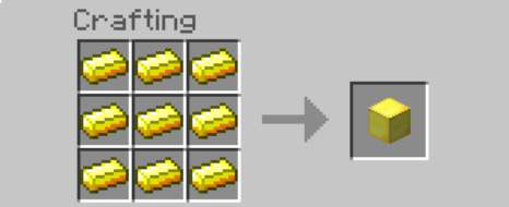 how to make gold blocks in minecraft