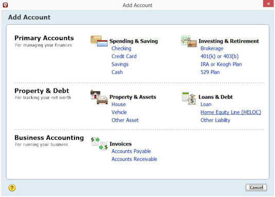 How to Set Up Additional Accounts in Quicken 2015 - dummies