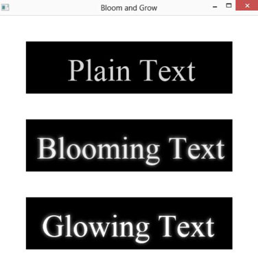 Three texts with bloom and glow effects created on JavaFX.