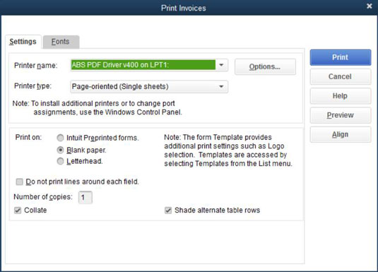 how to print quickbooks 2015 invoices in a batch dummies
