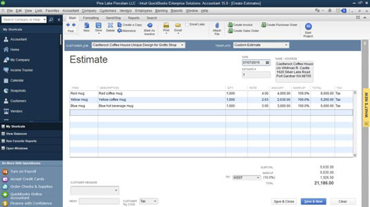 how to turn a job estimate into an invoice in quickbooks 2015 dummies
