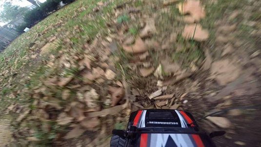 GoPro mounted to a radio-controlled car captured with normal exposure.