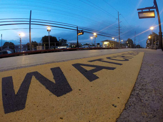 Though the GoPro is only a few inches from this reflective warning on a train platform, the entire