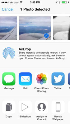 How to Share iPhone 6 Photos with Mail, Twitter, or Facebook