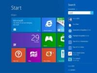 The search tab in Windows 8 start menu.