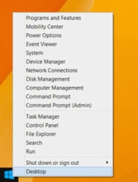 Shortcut menu that appears when you right click the start button in Windows 8.