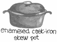 An enameled cast-iron stew pot