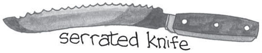 drawing of a serrated knife.