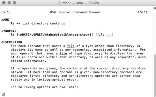 The General Commands Manual for OS X