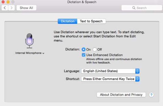 The Dictation and Speech tab in the OS X System Preferences.