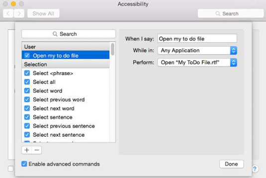 Accesibility preferences in a Mac.