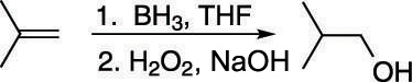 The hydroboration and oxidation of an alkene.