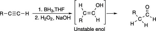 The hydroboration of an alkyne.