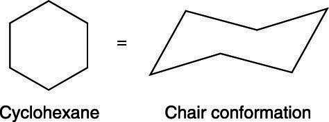 The chair conformation of cyclohexane.