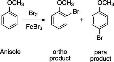 Bromine addition to anisole.