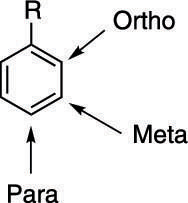 The ortho, meta, and para positions.