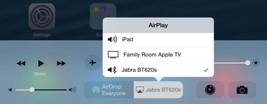 Tap the AirPlay button to see a list of audio output devices.
