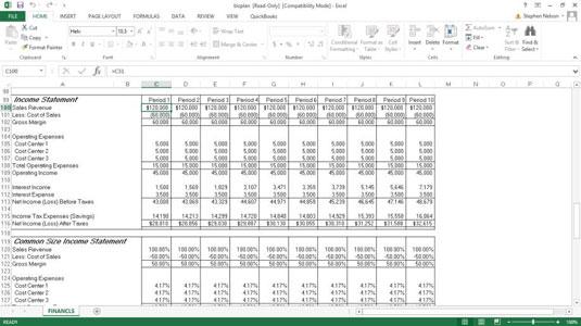 quickbooks common size income statement dummies