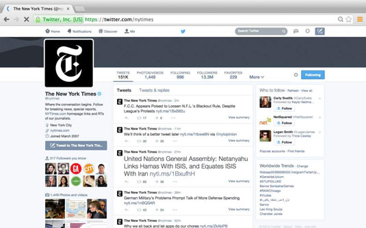 The New York Times' twitter page.