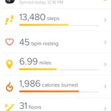 The FitBit app dashboard.