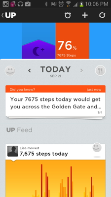 The UP app dashboard.