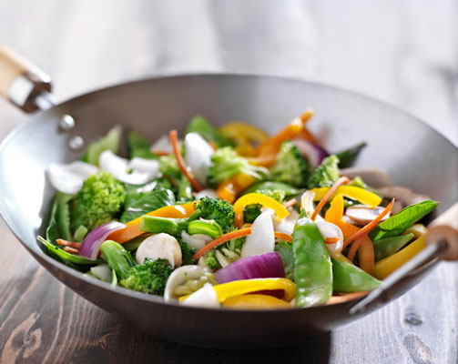Vegetables in a wok.
