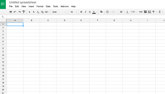 Figure 1: A blank Google Sheets document.