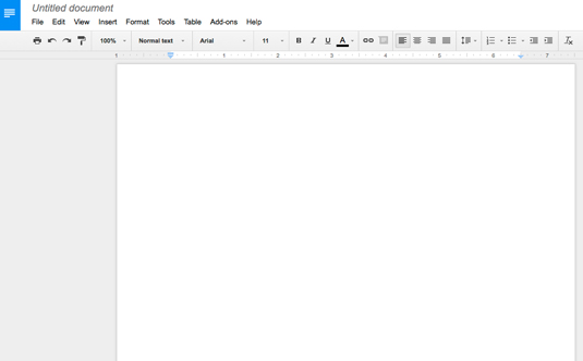 Figure 1: A blank Google Docs document.