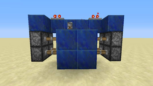 sticky pistons placement for minecraft door