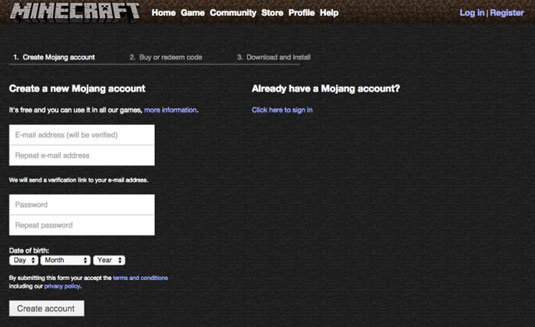How to Register a Minecraft Account - dummies