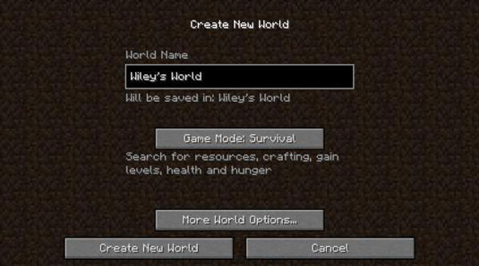 create a new world menu in minecraft