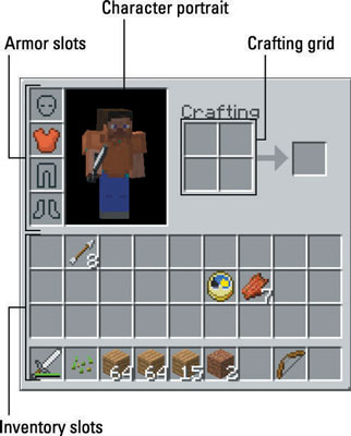 Using The Minecraft Inventory And Crafting Grid Dummies