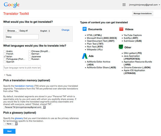 Figure 1: Google Translator Toolkit.