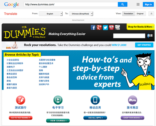 Figure 2: The Dummies.com Web site translated into Chinese.