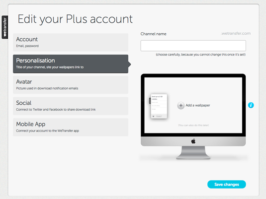 Figure 1: Set up your WeTransfer channel.